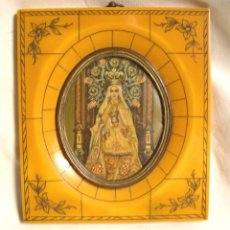 Arte: MINIATURA PINTADA AL OLEO SOBRE MARFIL VIRGEN DE LA MERCED, MARCO CAREY. MED. 11 X 12,50 CM. Lote 42325391