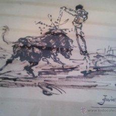 Arte: BONITO CUADRO CON MOTIVO TAURINO. PINTURA DE TOROS. FIRMADO JAVIER. Lote 42381142