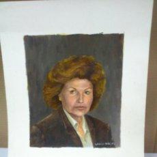 Arte: DIBUJO PINTURA AL OLEO ORIGINAL SOBRE PAPEL RETRATO FIRMADO. Lote 42398853