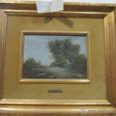 Arte: ÓLEO SOBRE TABLEX - PAISAJE - FIRMADO POR MORAGO FERNÁNDEZ 1954. MEDIDA PINTURA: 24 X 17 CMS.. Lote 42477537