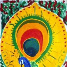 Arte: PAVO REAL (SERIE LOS PAJAROS) 1990, OLEO /PAPEL COUCHÉ, DE ALMA AJO.. Lote 26992990