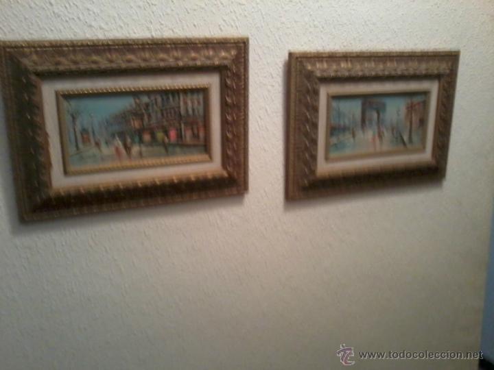 PAREJA OLEOS PAISAJES PARISINOS SOBRE TABLA. ENMARCADOS (Arte - Pintura - Pintura al Óleo Contemporánea )