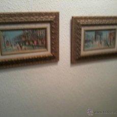 Arte: PAREJA OLEOS PAISAJES PARISINOS SOBRE TABLA. ENMARCADOS. Lote 42581653