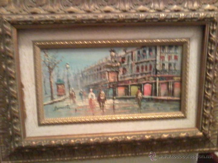 Arte: Pareja oleos paisajes parisinos sobre tabla. Enmarcados - Foto 2 - 42581653