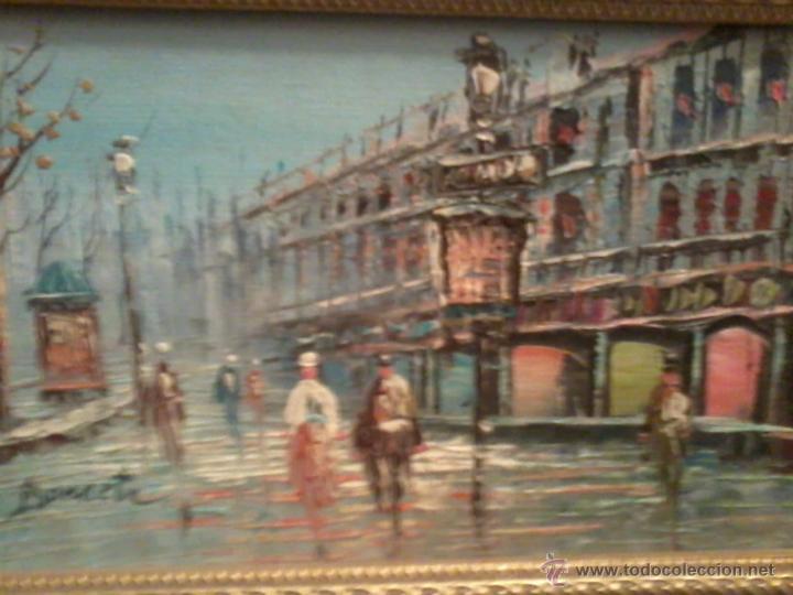 Arte: Pareja oleos paisajes parisinos sobre tabla. Enmarcados - Foto 4 - 42581653