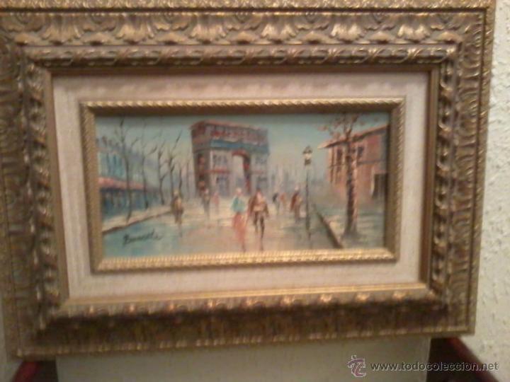 Arte: Pareja oleos paisajes parisinos sobre tabla. Enmarcados - Foto 5 - 42581653