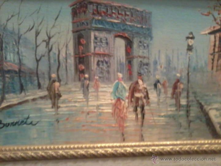 Arte: Pareja oleos paisajes parisinos sobre tabla. Enmarcados - Foto 6 - 42581653
