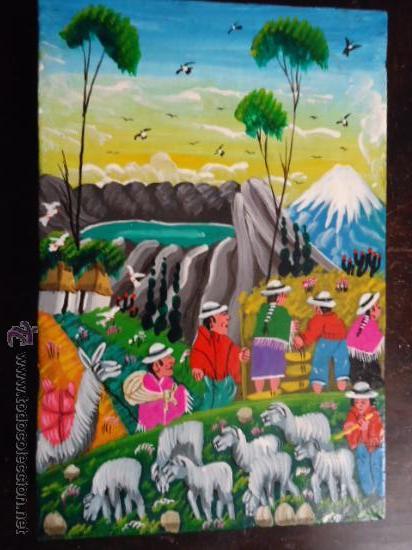 PRECIOSA PINTURA AL OLEO MINIATURA SOBRE PELLEJO ESTIRADO DE ANIMAL, 15 X 10 CM BASTIDOR MADERA (Arte - Pintura - Pintura al Óleo Contemporánea )