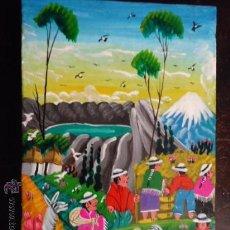 Arte: PRECIOSA PINTURA AL OLEO MINIATURA SOBRE PELLEJO ESTIRADO DE ANIMAL, 15 X 10 CM BASTIDOR MADERA. Lote 35652279