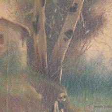 Arte: ÓLEO SOBRE LIENZO. PASTORA CON CISNES. S. XIX. FIRMADO RUIZ. Lote 42661979