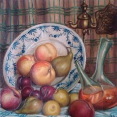 Arte: BODEGON FRUTAS --- OLEO FIRMADO JOSEP BARÓ ( ... ??....). Lote 105376806