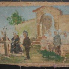 Arte: OLEO SOBRE TELA TITULADO EVANGELIS DE VILANOVA DE SAU. FECHADO EN 1903. Lote 42767612