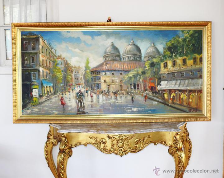 Enorme cuadro pintura al oleo sobre tela marco comprar - Pintura dorada para madera ...