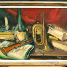 Arte: JOAN SERRA MELGOSA (LLEIDA,1899 - BARCELONA,1970) OLEO TELA. BODEGÓN DE MÚSICA DEL 1955. Lote 42837508