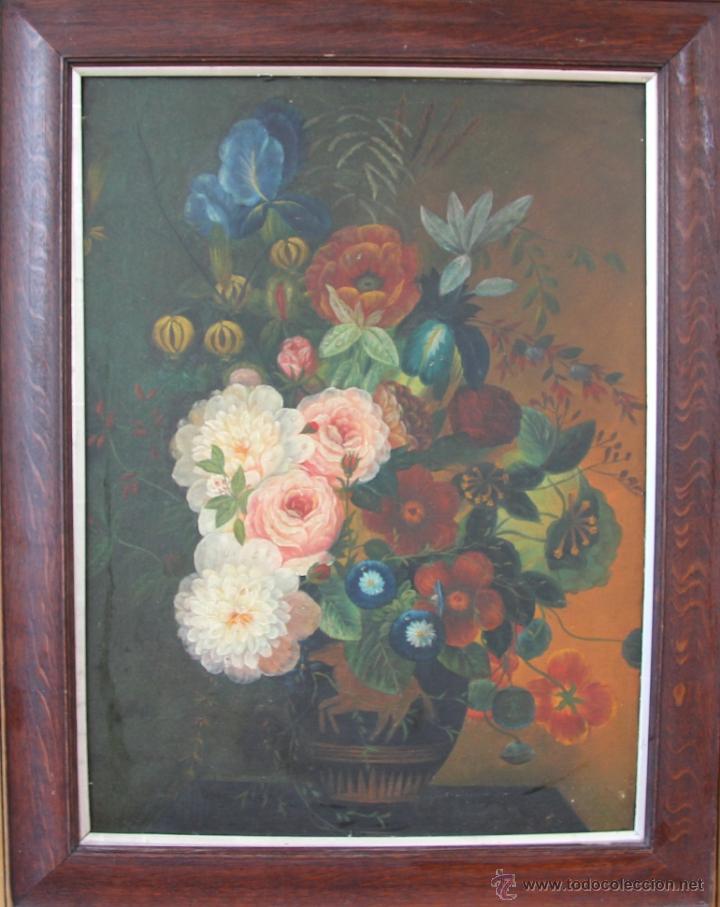 OLEO SOBRE LIENZO JARRON CON FLORES INGLATERRA FECHA SIN DEFINIR (Arte - Pintura - Pintura al Óleo Antigua sin fecha definida)
