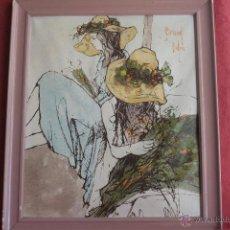 Arte: ESTUDIO DE DOS JÓVENES MUJERES CON FLORES. BERNARD DUFOUR. Lote 43051147