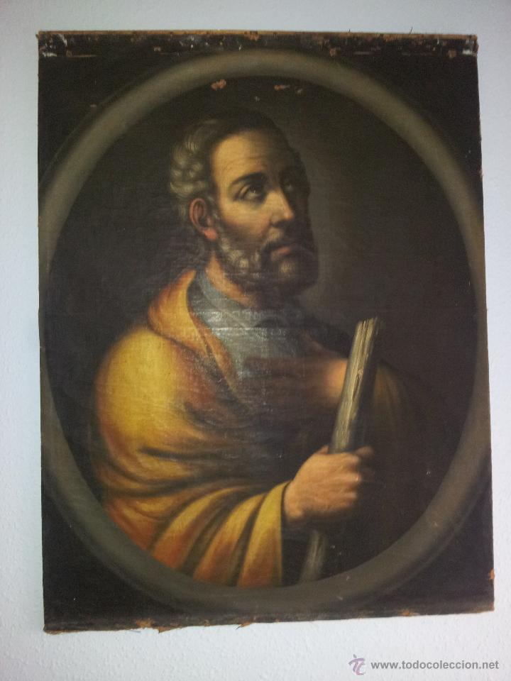 OBRA OLEO LIENZO APOSTOL SAN JUDAS TADEO 7° SIGLO XVIII PINTURA BARROCO AUTOR DESCONOCIDO PINTOR (Arte - Pintura - Pintura al Óleo Antigua siglo XVII)