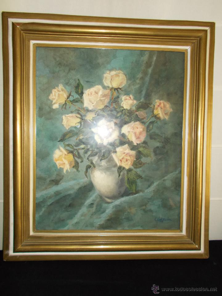 Arte: EXCEPCIONAL PINTURA AL ÓLEO DE EDUARDO VIAL HUGAS, FLORES 1943 - Foto 2 - 43141989