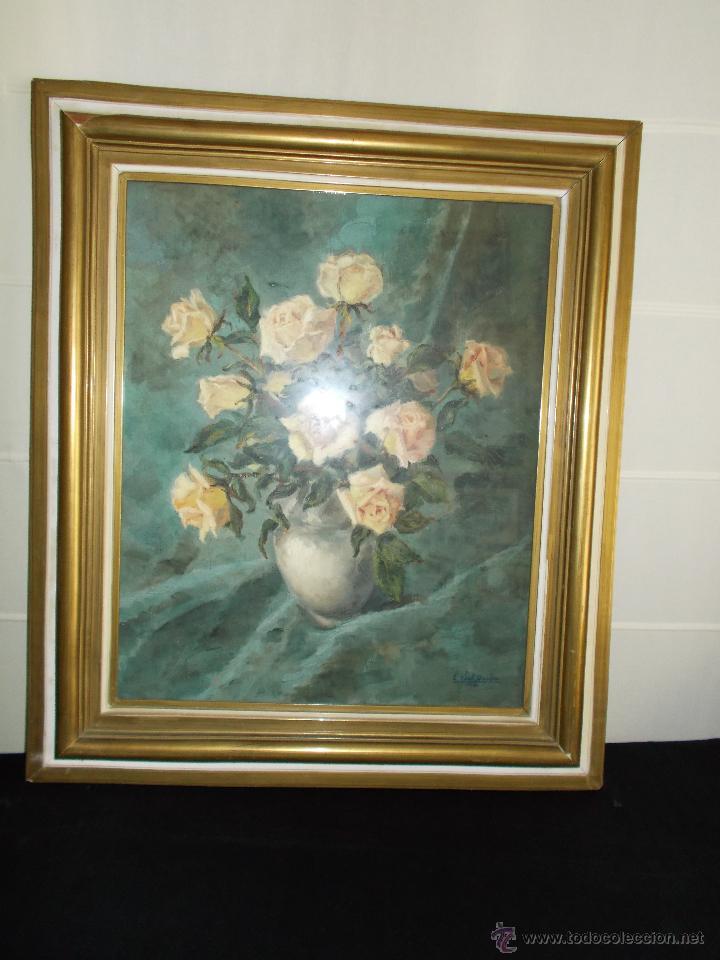 Arte: EXCEPCIONAL PINTURA AL ÓLEO DE EDUARDO VIAL HUGAS, FLORES 1943 - Foto 3 - 43141989