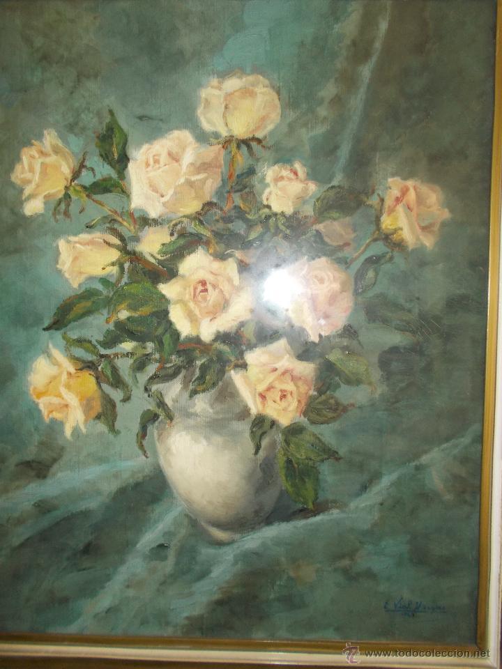 Arte: EXCEPCIONAL PINTURA AL ÓLEO DE EDUARDO VIAL HUGAS, FLORES 1943 - Foto 5 - 43141989