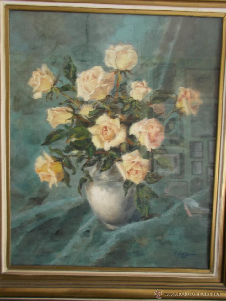 Arte: EXCEPCIONAL PINTURA AL ÓLEO DE EDUARDO VIAL HUGAS, FLORES 1943 - Foto 8 - 43141989