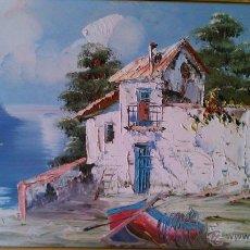 Arte: PRECIOSO OLEO SOBRE TABLA CASA DE PESCADORES. FIRMADO Y ENMARCADO. AÑOS 70. Lote 43191452