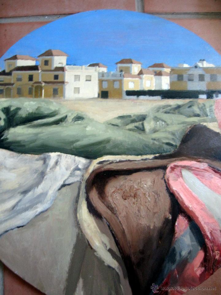 Arte: Pintura contemporánea figurativa formato circular paisaje - Foto 2 - 43194764