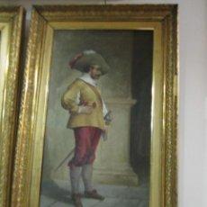 Arte: GRAN ÓLEO SOBRE LIENZO FIRMADO POR L. DE MARÍA - CABALLERO CON ESPADA - AÑO 1899.. Lote 43339149
