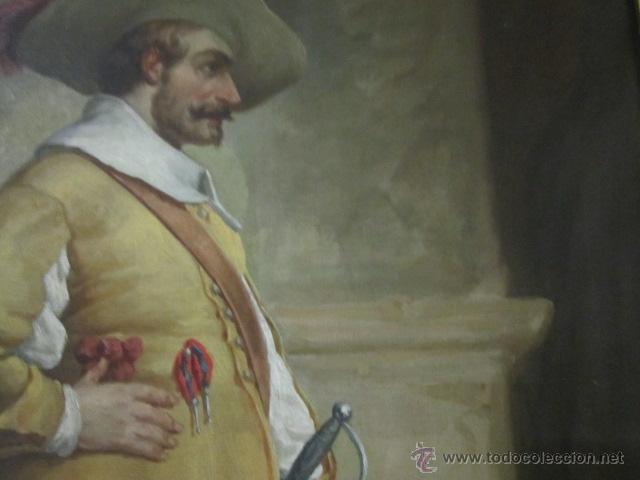 Arte: Gran óleo sobre lienzo firmado por L. de María - Caballero con espada - año 1899. - Foto 2 - 43339149