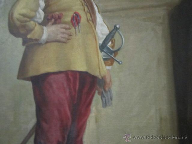 Arte: Gran óleo sobre lienzo firmado por L. de María - Caballero con espada - año 1899. - Foto 3 - 43339149