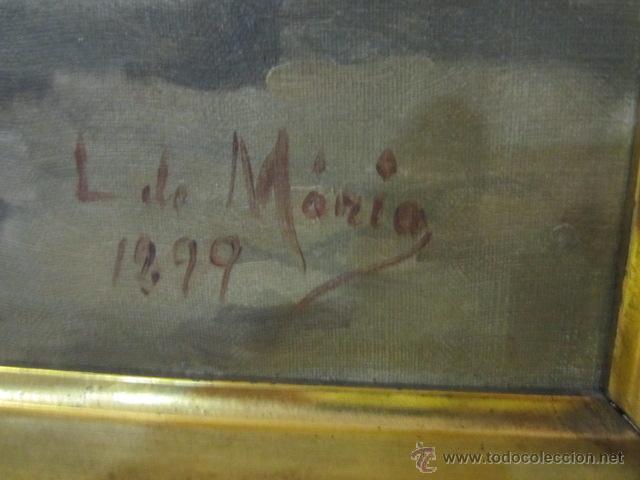 Arte: Gran óleo sobre lienzo firmado por L. de María - Caballero con espada - año 1899. - Foto 5 - 43339149