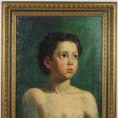 Kunst - E4-018 - JOVEN. OLEO SOBRE LIENZO. ATRIBUIBLE A FERMIN AGUAYO - ÉPOCA FIGURATIVA. - 43511273