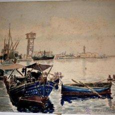 "Arte: CABRÉ ROFES, FRANCESC (TARRAGONA, 1909 - ?). ""BARCAS EN EL PUERTO"", 1946. ACUARELA SOBRE PAPEL. FIRM. Lote 43554910"