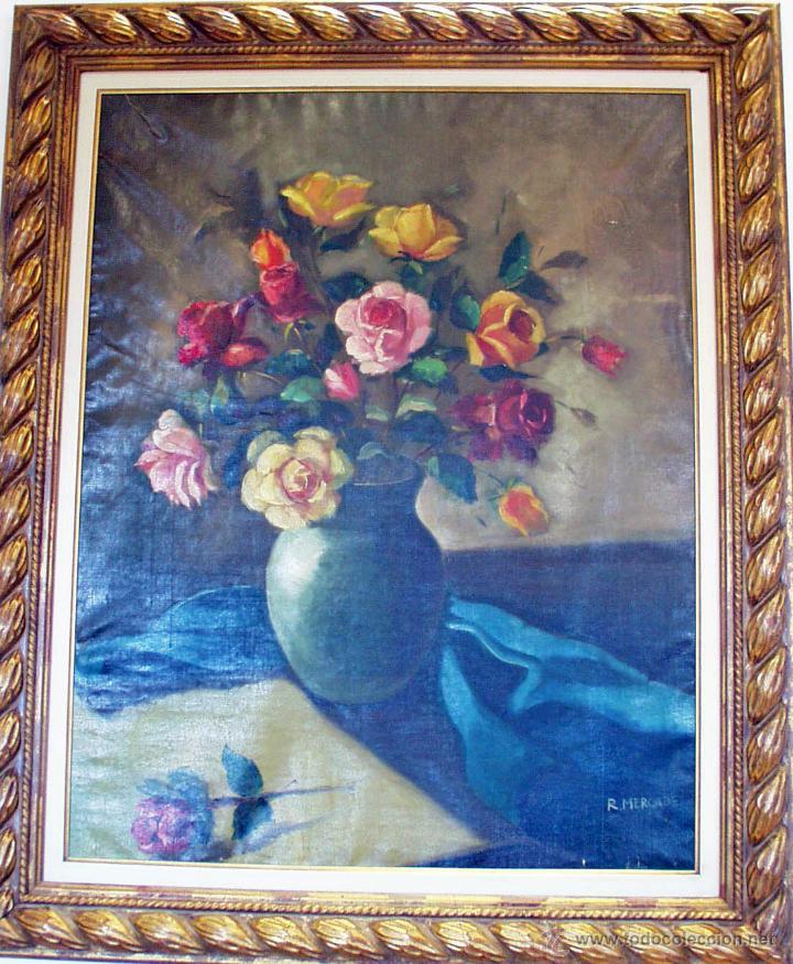 LIENZO ANTIGUO FLORES (Arte - Pintura - Pintura al Óleo Contemporánea )