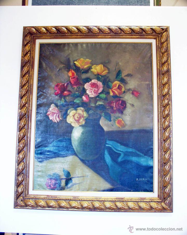 Arte: Lienzo antiguo Flores - Foto 2 - 43591190