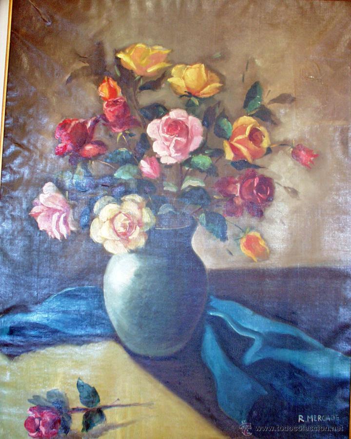 Arte: Lienzo antiguo Flores - Foto 3 - 43591190