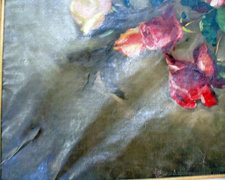 Arte: Lienzo antiguo Flores - Foto 8 - 43591190