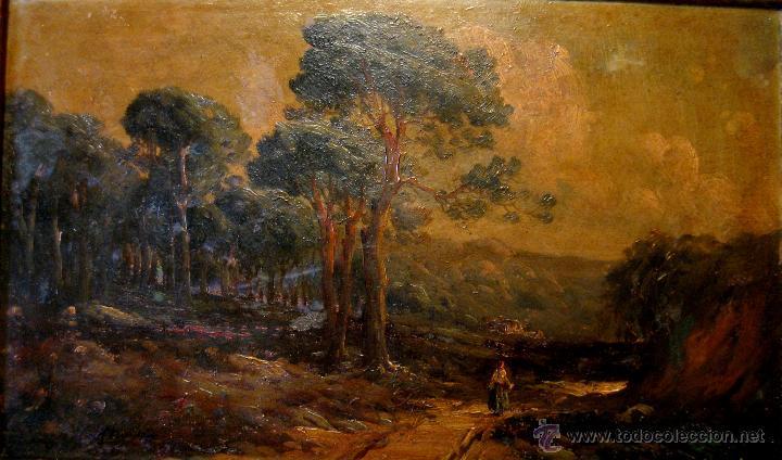 Arte: PERE NAVARRO ESCUDER. PAISAJE RURAL. ÓLEO/CARTÓN FIRMADO P. ESCUDER CA. 1900 - Foto 2 - 43602612