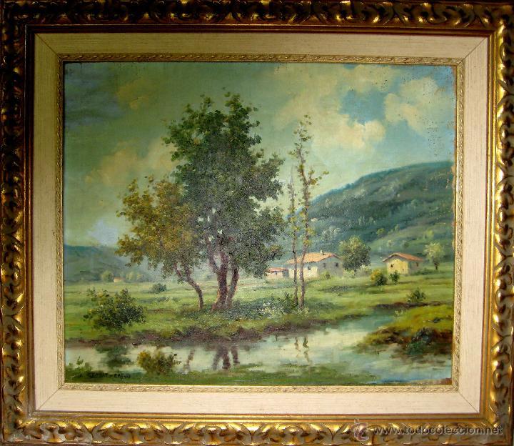 PAISAJE DE OLOT. OLEO/LIENZO DE 38X46 FIRMADO J. SERRAT-CALVÓ. (Arte - Pintura - Pintura al Óleo Contemporánea )