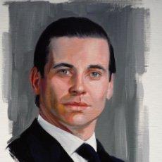 Arte: DOWNTON ABBEY. RETRATO ORIGINAL AL ÓLEO DEL LACAYO THOMAS BARROW. CAYUELA. Lote 43693219