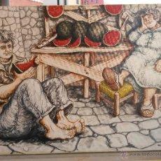 Arte: PINTURA AL OLEO ,ACLILICO O LITOGRAFIA NO LO SE EN TELA 70 X 50 CMS CON GRACIA VERANIEGO-COMERCIAL. Lote 43746233