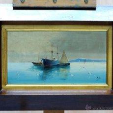 Arte: OLEO SOBRE TABLA MARINA BARCOS V GIL S XIX CON MARCO NOGAL. Lote 43876297