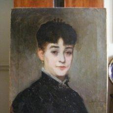 Arte: RETRATO DE AMPARO LERENA, POR EL PINTOR EMILIO SALA FRANCÉS, VALENCIA AGOSTO 1885 S.XIX. Lote 43911873