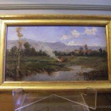 Arte: ÓLEO EN TABLA DE UN PAISAJE VALENCIANO DE FINALES DEL SIGLO XIX, IMPRESIONISMO. Lote 43922661