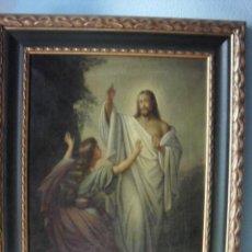 Arte: JESUS RESUCITADO APARICION A LA MAGDALENA OLEO SOBRE LIENZO 79X64 CM. Lote 43953693