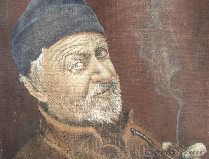 Arte: Antiguo Óleo ¨Marino de Birrete fumando pipa¨ Firmado Havans Medida 60x40 Tela Tandil Circa 1960 - Foto 2 - 44117159
