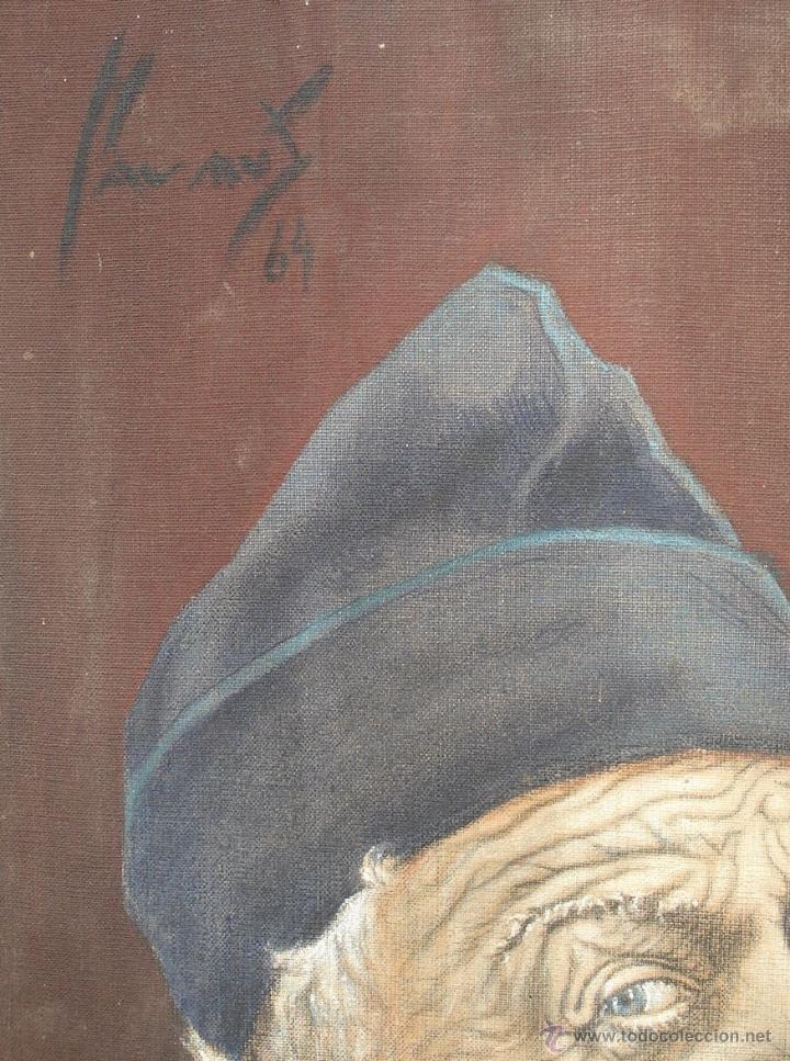 Arte: Antiguo Óleo ¨Marino de Birrete fumando pipa¨ Firmado Havans Medida 60x40 Tela Tandil Circa 1960 - Foto 4 - 44117159