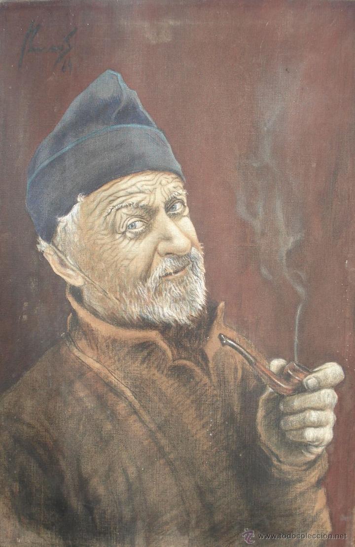 Arte: Antiguo Óleo ¨Marino de Birrete fumando pipa¨ Firmado Havans Medida 60x40 Tela Tandil Circa 1960 - Foto 6 - 44117159