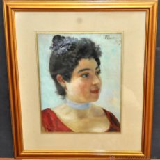Arte: JOAN LLAVERIAS LABRO (VILANOVA I LA GELTRÚ, 1865 - LLORET DE MAR, 1938) OLEO TELA DEL 1889. RETRATO. Lote 44195307