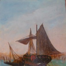 Arte: MARTIN. OLEO SOBRE CARTÓN, 34,5 X 21 CM. FINALES S. XIX. MARINA. BARCOS DE PESCA, QUIZÁS EN MÁLAGA. Lote 44240057